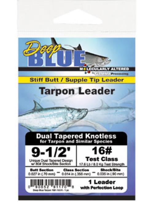 Frog Hair Deep Blue Tapered Tarpon Leader 9.5' (1/pk) - Fly Fishing