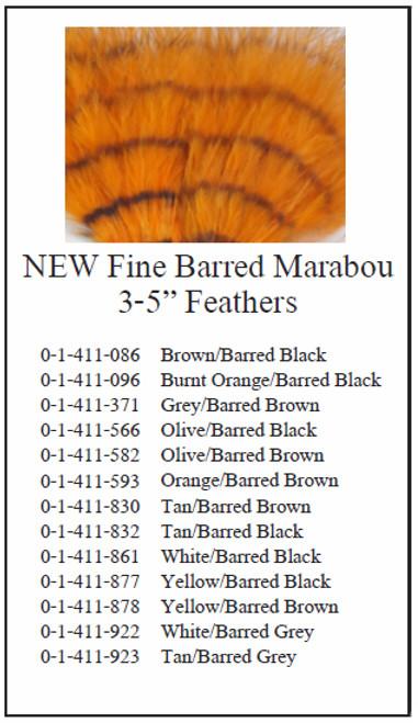 """Montana Fly Company Fine Barred Marabou - 3"""" - 5"""""""