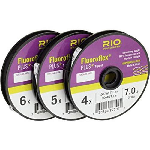 Rio Fluoroflex Plus Fluorocarbon Tippet 30 yd. Spool 4x,5x,6x 3 pack