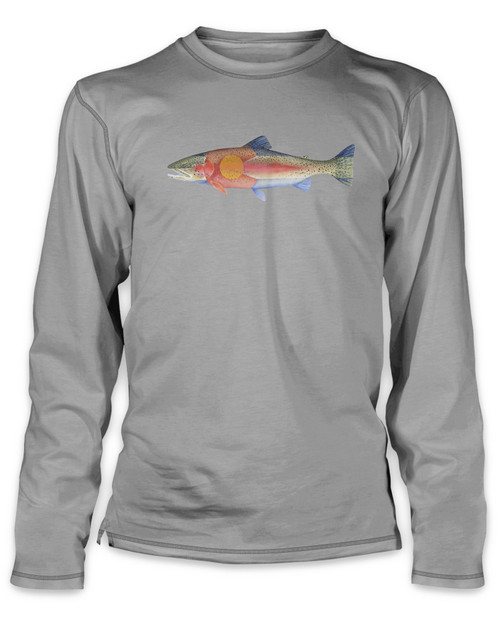 Rep Your Water Colorado Flag Painted Fish Peformance Long Sleeved Tee