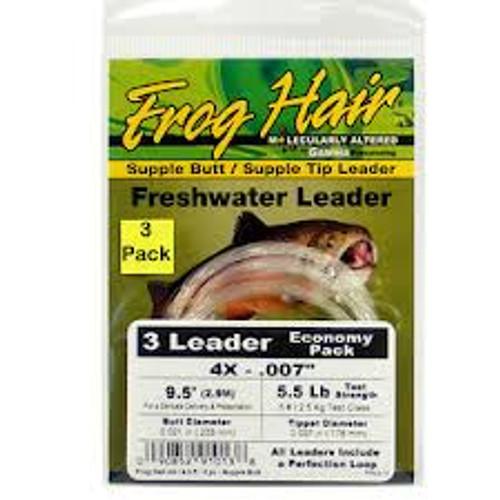 "Frog Hair Supple Butt Supple Tip Leader 9'.5"" 3-pack - Fly Fishing"