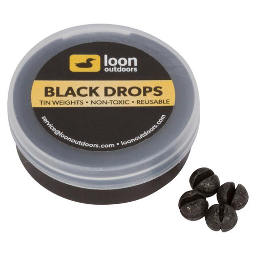 Loon Outdoors Black Drops Split Shot | Refill Tub