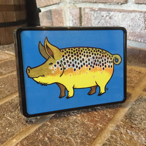 Nate Karnes Pig Brown Trout Trailer Hitch Cover
