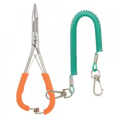 "Dr Slick Crossfire Mitten Scissor Clamp 6"" Orange Textured Rubber Loops Straight"