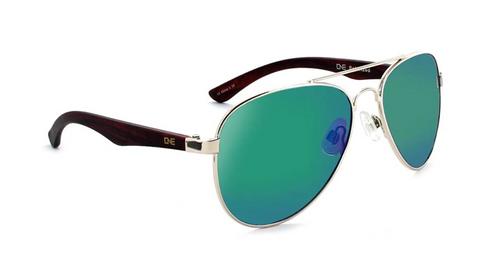 One Optic Arbor Polarized Sunglasses - Shiny Gold w/ Matte Wood Dark/ Grey w/ Green Mirror
