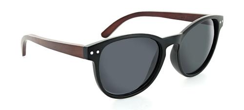 Optic Nerve Bamboo Woodstock Polarized Sunglasses - Black with Genuine Bamboo Temples w/ Smoke Lens
