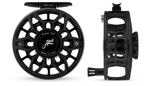 Abel SDF Fly Reel Ported - Basic Black - 4/5 WT with Black Aluminum Handle