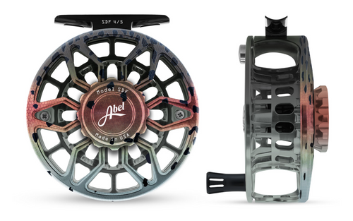 Abel SDF Fly Reel Ported - Native Rainbow - 4/5 WT with Aluminum Black Handle