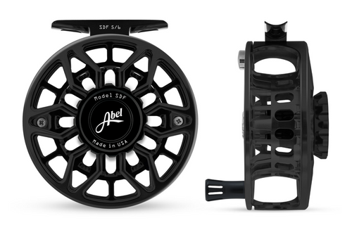 Abel SDF Fly Reel Ported - Basic Black - 5/6 WT with Black Aluminum Handle