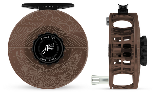 Abel SDF Fly Reel Bronze Finish - Underwood Edition ridge Risers - 4/5 WT with Platinum Aluminum Handle
