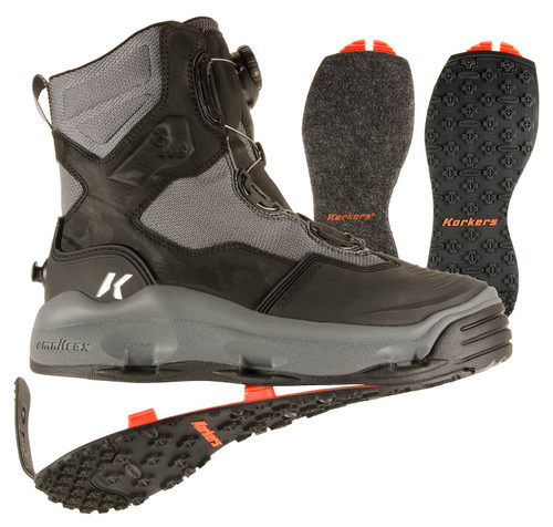 Korkers Women's Darkhorse Wading Boot Kling-On & Black Felt Soles