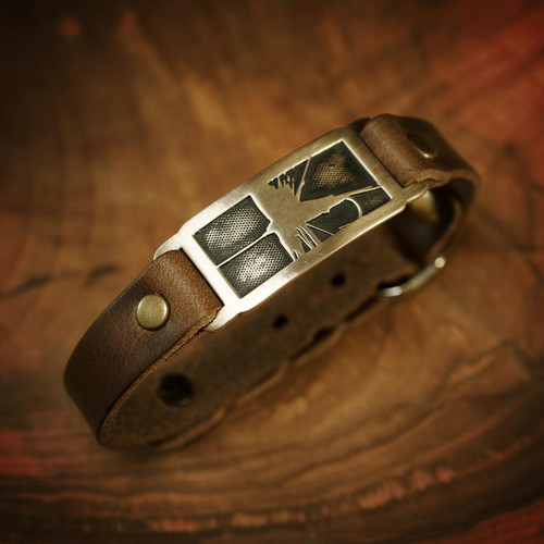 Sight Line Provisions Streamline Collection - Trout Bronze on Brown Leather Bracelet
