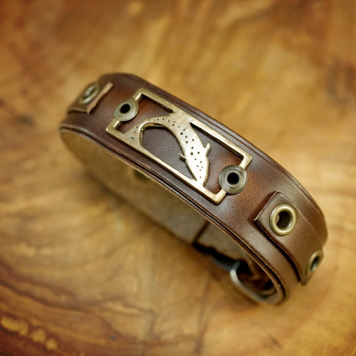 Sight Line Provisions Lost Cast Collection - Trout Bronze on Horween Brown Bracelet
