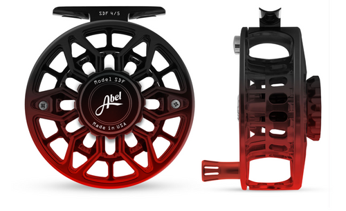 Abel SDF Fly Reel Ported - Black Red Fade - 4/5 WT with Red Aluminum Handle