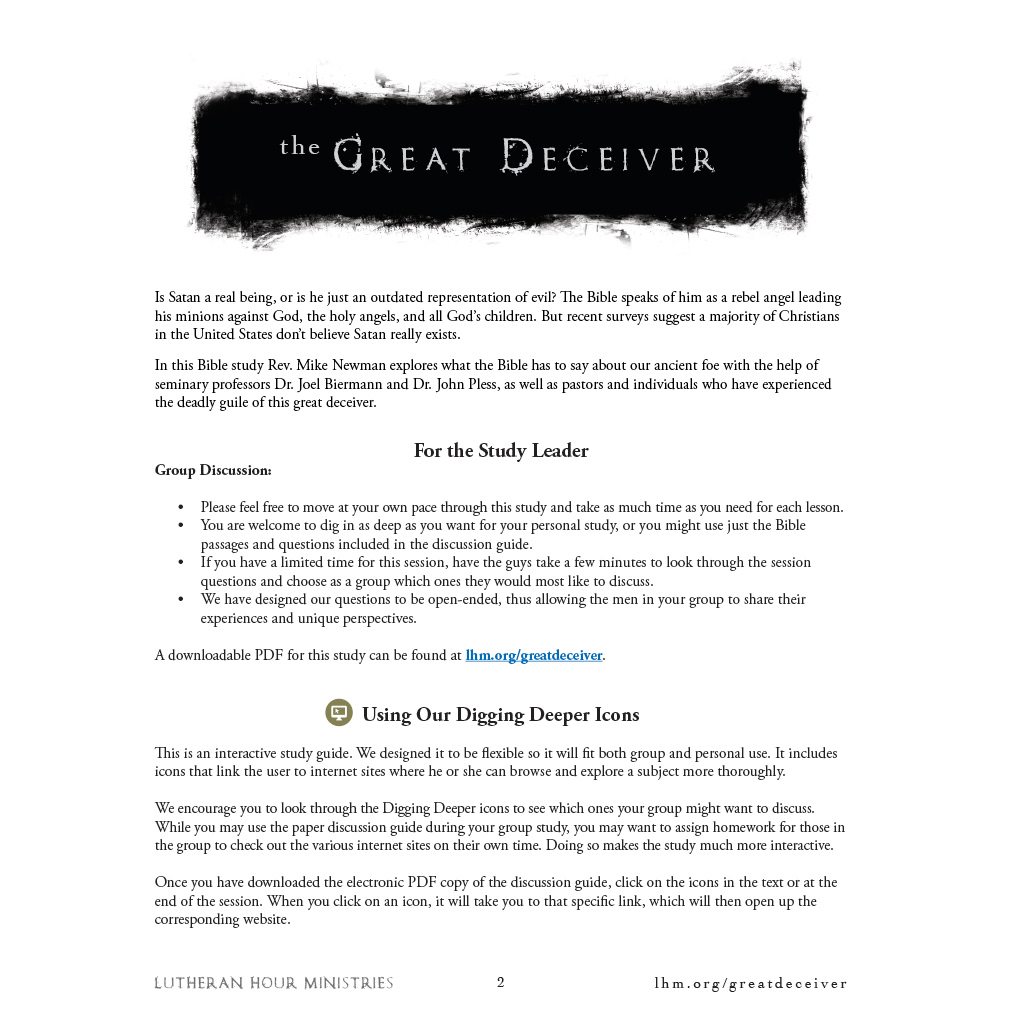 Great Deceiver Bible Study - Discussion Guide