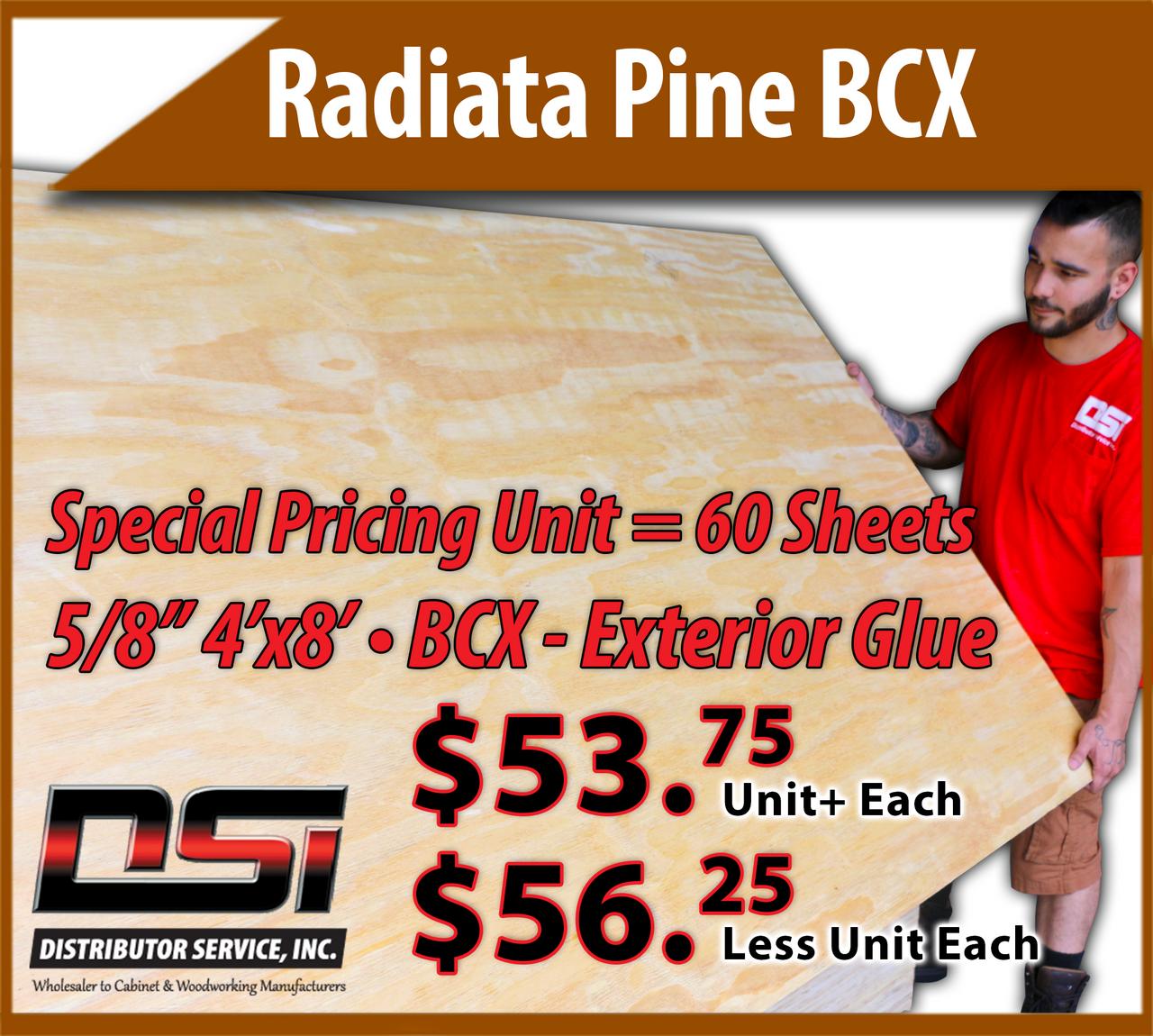 Radiata Pine Plywood 5-8 15mm 4x8 BCX - Exterior Glue RADP58BC