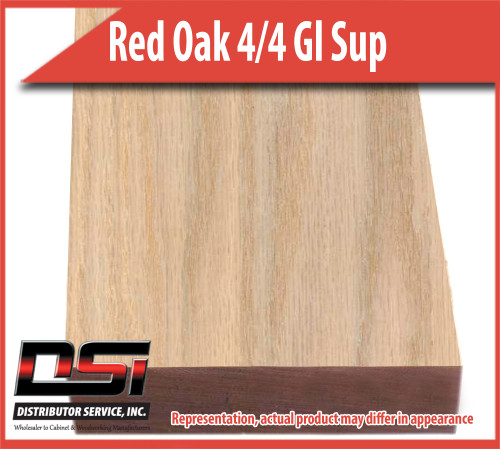 "Domestic Hardwood Lumber Red Oak 4/4 Gl Sup  15/16"" 10'"