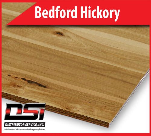 "Bedford Hickory Plywood Plain Sliced Veneer Core 3-6"" Flitches G1S 1/4"" x 4x8"