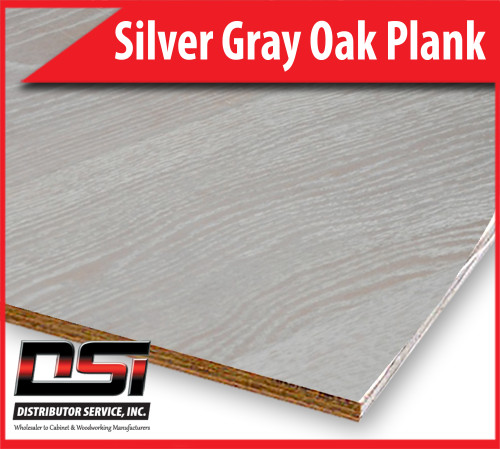 "Silver Gray Oak Plank Plywood Eurocore A-A 1/2"" x 4x8"