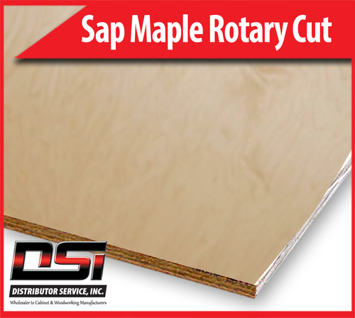"Sap Maple Plywood Rotary Cut MDF WPF C-4 UV1S 3/8"" x 4x8"