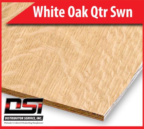 """White Oak Plywood Qtr Swn EuroCore A3 Birch Back 1/4"""" x 4x8"""