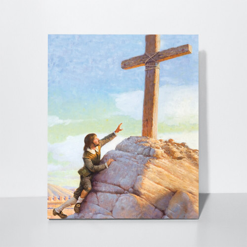 Christian's Burden Falls at the Foot of the Cross: Stretched Canvas (BLACK FRIDAY)