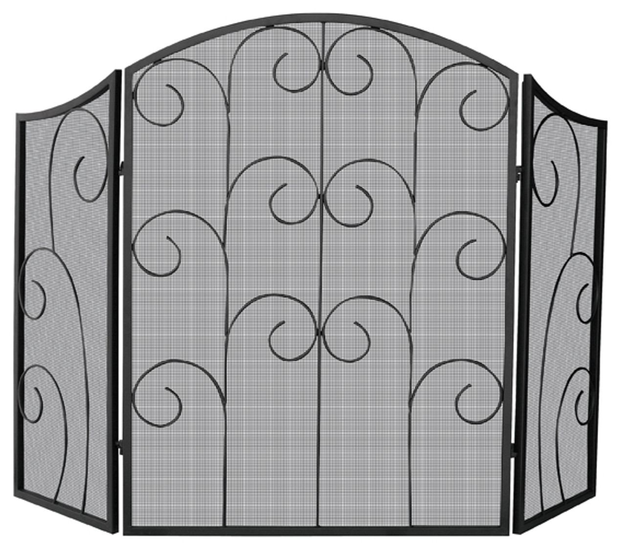 Marvelous Uniflame 3 Panel Black Wrought Iron Screen With Decorative Scroll 35 X 52 Download Free Architecture Designs Photstoregrimeyleaguecom