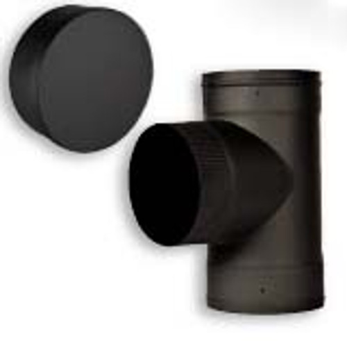 Ventis Black Single Wall Stove Pipe Tee and Cap