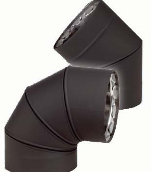 Ventis Double Wall Black Stove Pipe 90 degree fixed elbow