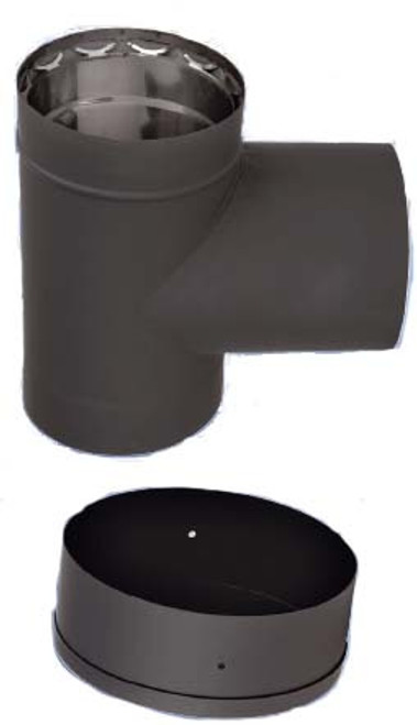 Ventis Double Wall Black Stove Pipe Tee & Tee Cap