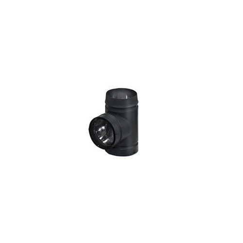 DSP Double-Wall Black Stovepipe Tee with Cover - 6""