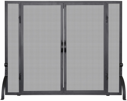 Single Panel Black Wrought Iron Screen with Doors - Large