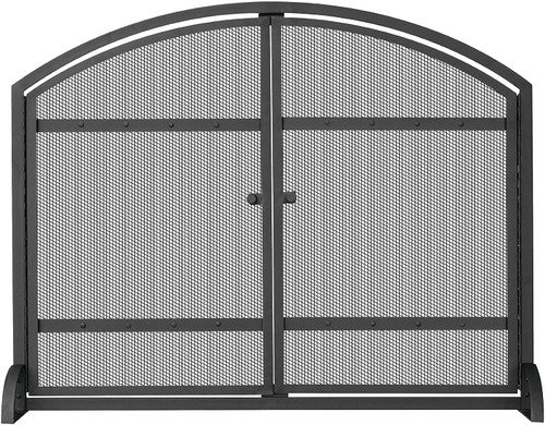 Single Panel Black Wrought Iron Arch Top Screen with Doors
