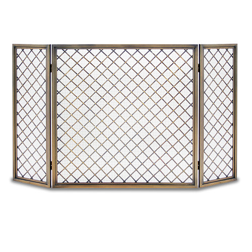 Pilgrim Hartwick 3 Panel Fireplace Screen Polished Nickel