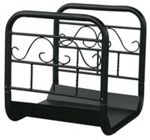 Large Black Wrought Iron Log Rack with Wheels and Removable Cart