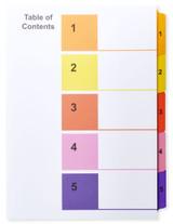 A4 1-5 Multi-Color Tabs