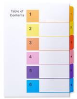 A4 1-6 Multi-Color Tabs