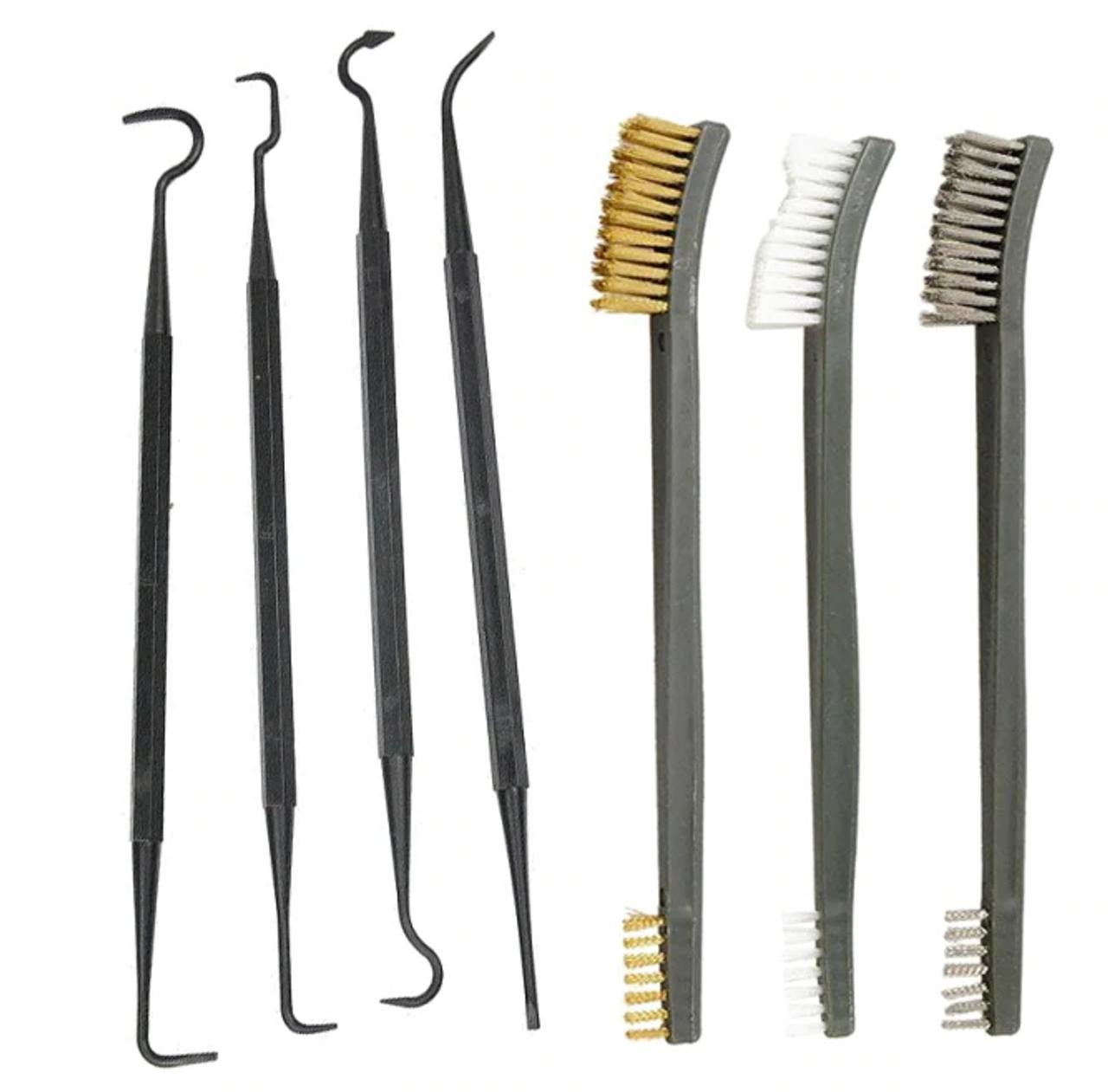 3pc Steel Wire Brush + 4pc Nylon Pick Set for Gun Cleaning