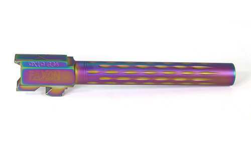 Faxon Flame Fluted Barrel, Non-Threaded, Chameleon PVD For G34