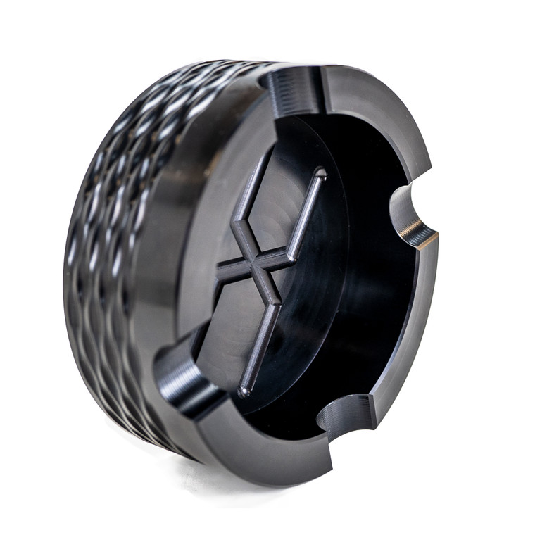 Faxon Round Ashtray, Flame Fluted, Black