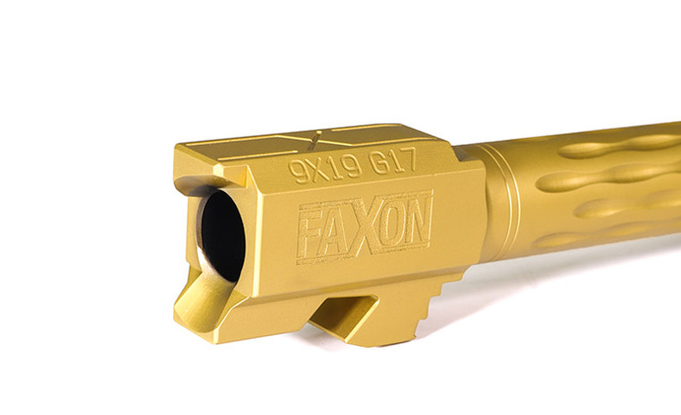Faxon Flame Fluted Barrel, Threaded, TiN PVD For G17