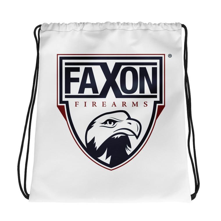Faxon Classic Shield Drawstring Bag | White