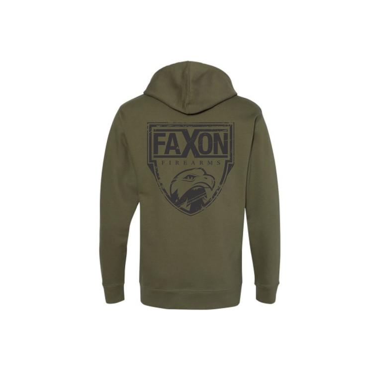 Faxon Green/Black Zip Hoodie - Distressed Logo