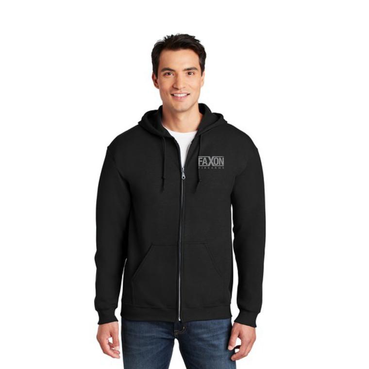 Faxon Black/Gray Zip Hoodie - Distressed Logo