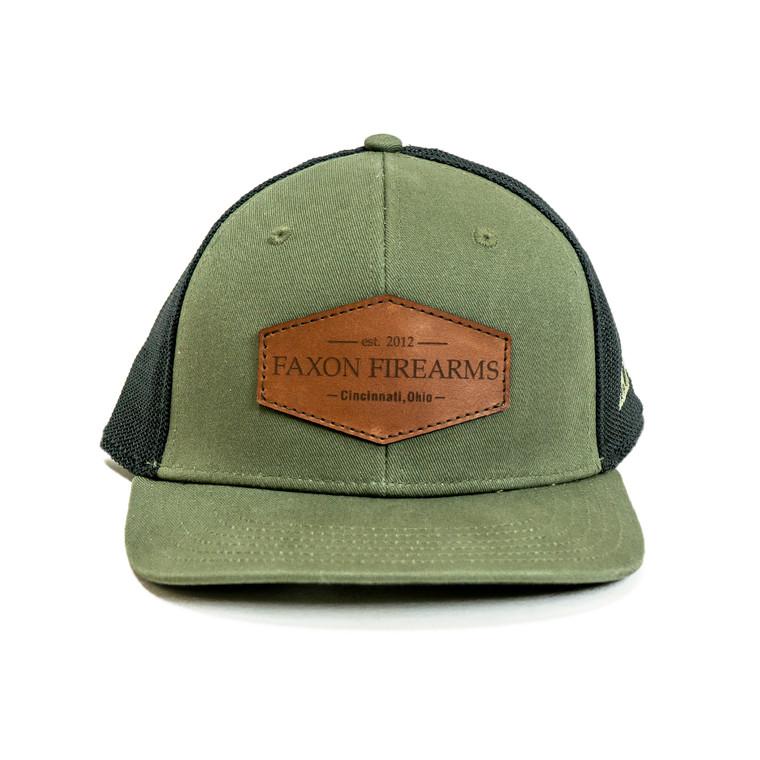 Faxon Olive/Black Snapback Stretch Hat- Leather Patch