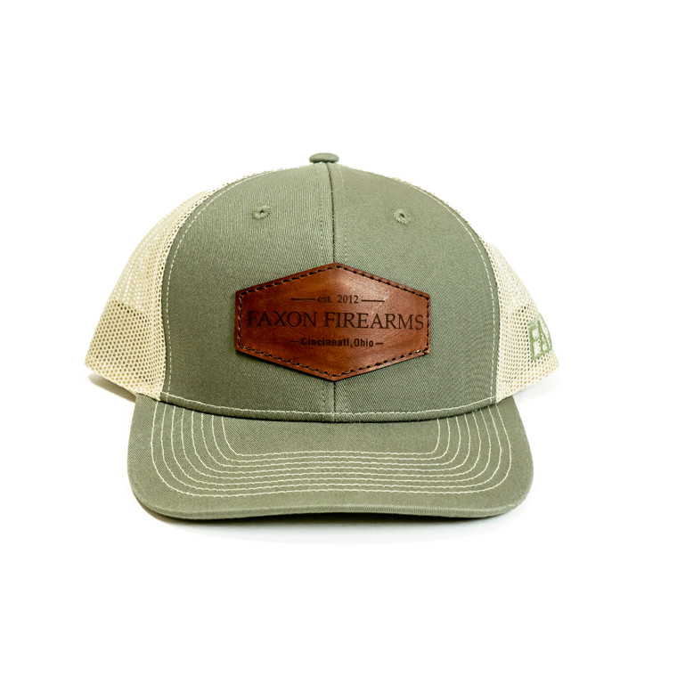 Faxon Olive/Khaki Snapback Hat - Leather Patch