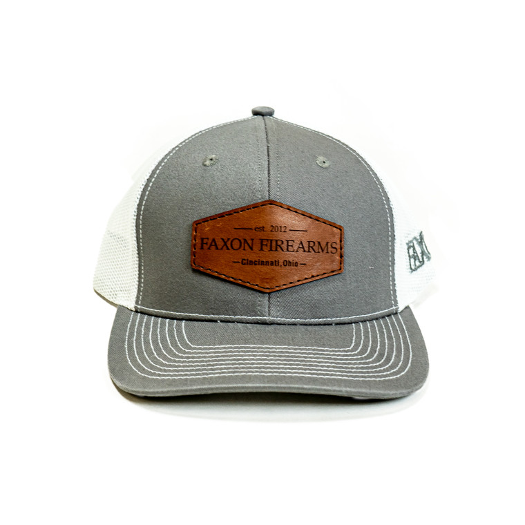 Faxon Charcoal/White Snapback Hat - Leather Patch