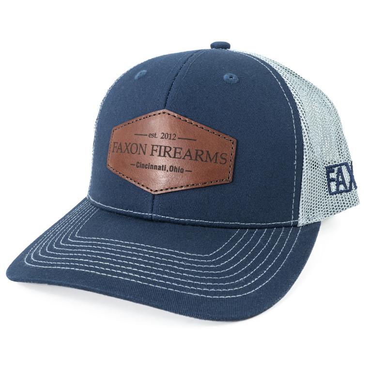 Faxon Navy/Grey Snapback Hat - Leather Patch