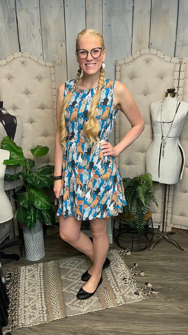 Blue Dog Dress w/ Pockets