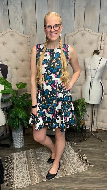 Green Unicorn w/ Floral Print Dress